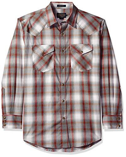 Pendleton Herren Long Sleeve Front Classic-fit Frontier Shirt Button Down Hemd, Grey Rust Plaid, X-Groß