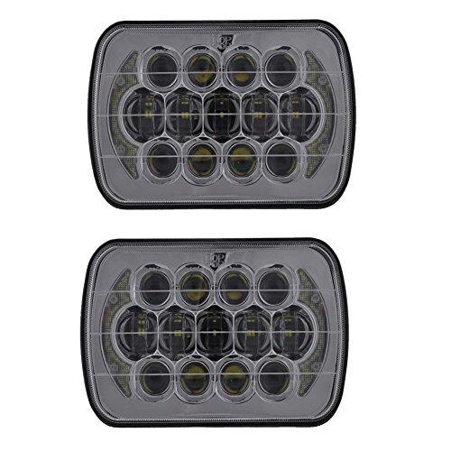 2 Silber 12,7 x 17,8 cm/17,8 x 15,2 cm 85 W CREE LED Ersatz Scheinwerfer für versiegeltes Beam Wrangler YJ Cherokee XJ H6054 H5054 h6054ll 69822 6052 6053 mit DRL (H6054 Led)