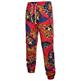 BOLAWOO 3D Floral Printed Linen Pants Long Pants Casual Joggers Mens Summer Loose Fashion Brands Vintage Sweatpants Sports Pants Sweat Pants (Color : Red-5, Size : XL)