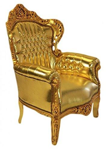 Barock Sessel Gold Lederoptik mit Glitzersteinen 85 x 85 x H. 120 cm
