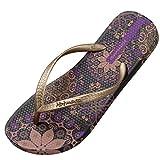 Hotmarzz Damen Zehentrenner Böhmen Blumen Sommer Sandalen Flip Flops Badeschuhe Size 40 EU / 41 CN, Violett