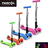 FASCOL® Twist & Roll Patinete plegable para niños con 3 ruedas(PU LED flash),mini patinetes freestyle scooter in Rosa
