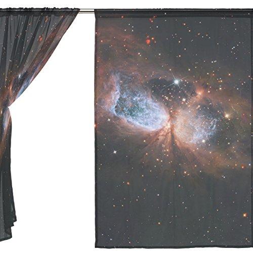 jstel 2pezzi Voile tenda di finestra, Galaxy Space Nebula Star Universe Planet Meteor, Tulle Sheer Curtain Drape Valance 139,7x 198,1cm Set di due pannelli, Poliestere, Blue, 55x78x2(in)