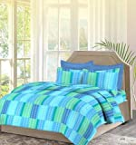 #10: Bombay Dyeing Premium Cotton Double Bedsheet With 2 Pillow Covers TC 140 Packed in a Gift Blue