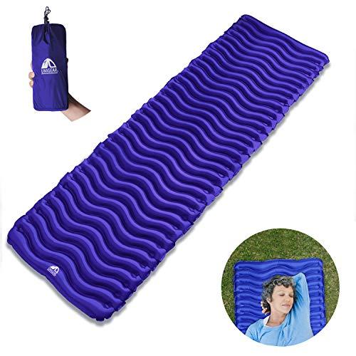 Unigear materasso da campeggio gonfiabile, letto da campeggio gonfiabile a prova d'umidità ultralight per amaca, tenda, sacco a pelo, spiaggia(blu scuro)