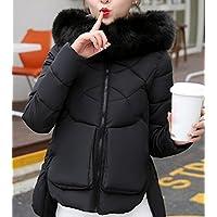 Addensare giacca di cotone, multifunzionale, giacca corta delle donne, giacca di cotone, vestiti di grandi dimensioni, con la chiusura lampo, sciolto, collare grande cappello , black , xl