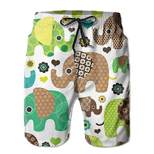 Bohemian Elephant Boho Mens Cool Board Shorts Loose Fit Tie Waist Swim Bermuda Shorts Medium -