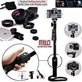 Ceuta Retails, 1288 Selfie Stick with 3-in-1 Fish Eye and Wide Angle