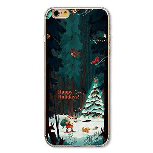 iPhone 6 Plus Hülle,iPhone 6S Plus Schutzhülle Defender Bumper,Ekakashop Ultra dünn Slim Bunt Christmas Durchsichtig Transparent Muster Weiche Silikon TPU Gel Crystal Case Defender Back Cover Protecti Weihnachten Alter Baum