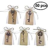 Xyjie 50pcs dragées de mariage Skeleton Key Décapsuleur avec Escort Tag carte et ficelle pour dragées de mariage Décoration brillant (mixtes 5styles)