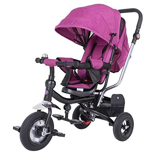 Spielwerk Tríciclo Ajustable Rosa para Bebes y niños con Barra de Empuje Multifuncional Cochecito...