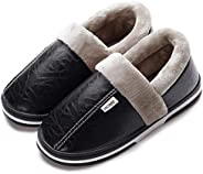Men's Leather Slippers with Non Slip Sturdy Sole House Shoes Fur Memory Foam Warm Indoor &