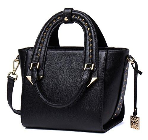 Malirona Niet besetzte echtes Leder-Frauen-Handtaschen-Oberseiten-Handgriff-Schultaschen-Schulter-Einkaufstasche (Zurück Satchel Zip)