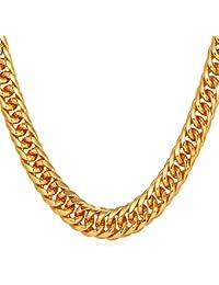 U7 Men Necklace Hip-hop Jewelry Platinum/Gun Black Metal/Rose Gold/18K Yellow Gold Plated Franco Cuban Curb Chain 6mm 9mm