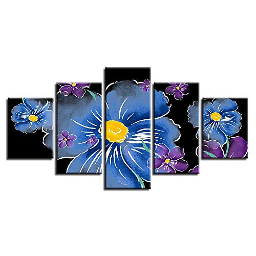Dekorative Malerei,Einfache Five-in-One-Handwerk Malerei Inkjet kreative abstrakte Blumen Startseite Kinderzimmer Schlafzimmer Wandbild Kunst Gemälde Gemälde 14 Kern 10x15cmx2 10x20cmx2 10x25cmx1