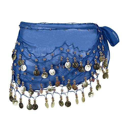 Eleery Damen Frauen Bauch Tanzen Schal 3 Schicht Chiffon Gürtel Mit 98 Münzen (Blau) -