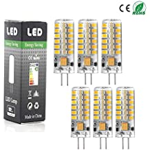 Paquete de 6- Angge G4 LED bulbo del maíz de alta potencia 5W G4 48 x 13mm 48 SMD 2835 AC DC 12V LED luz de silicona bulbo del proyector de la lámpara blanco cálido regulable [Clase de eficiencia energética A+] - (Blanco