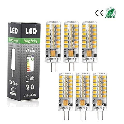 ANGGE Lot de 6 - G4 5W 48 x 13mm 48 SMD 2835 AC DC 12V LED Ampoule de maïs Haute puissance LED lumière Silicone projecteur Ampoule Blanc chaud Remplacement de la lampe Dimmable [Classe énergétique A +] - (Warm White)