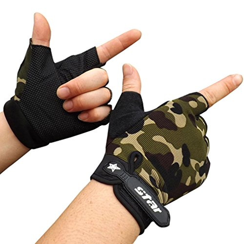 Antiskid Gloves, Toamen Men's Cycling Bike Gym Hiking Camping Fitness Sports Half Finger Gloves