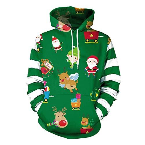 XSWE Weihnachtskostüm Erwachsene Paar Rundhals Striped Cartoon Cute Print Hooded ()