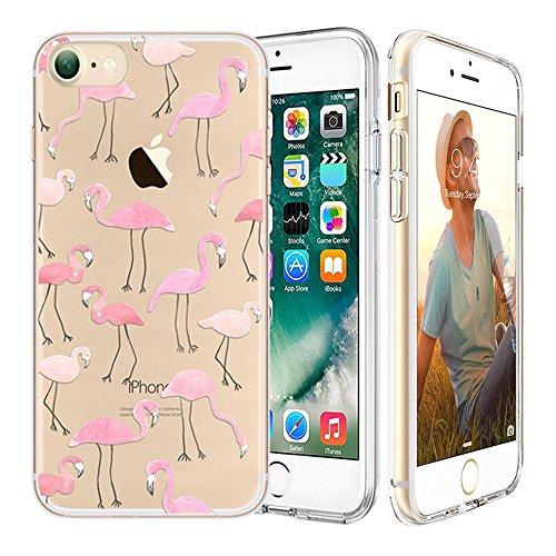 iPhone 7 Custodia,Apple iPhone 7 (4.7 inch) Custodia,Richoose iPhone 7 TPU [Slim Fit] Cancella TPU Gel Della Gomma Custodia Protettiva,Cassa del Respingente Crystal Clear Trasparente Custodia Protettiva per iPhone 7 4.7 inch - Flamingos