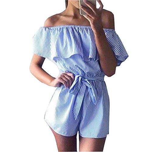 Damen Sommer Jumpsuit Elegant Streifen Schulterfrei Bowknot Overall Playsuit Mode (S, Blau)