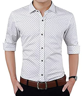 Peppyzone Printed Slim Fit Full Sleeve Formal Shirt for Men (XS (Chest 34 Inches), White fs)