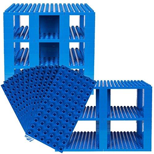 Big Briks - Set de placas para construir en forma de torre - Compatible con todas las grandes marcas - Azul