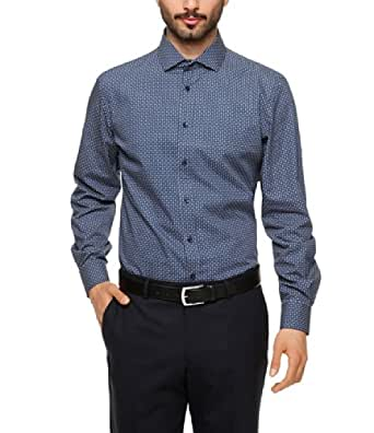 s.Oliver BLACK LABEL Herren Businesshemd Slim Fit 12.305.21.8422, Gr. 40, Blau (58A1)