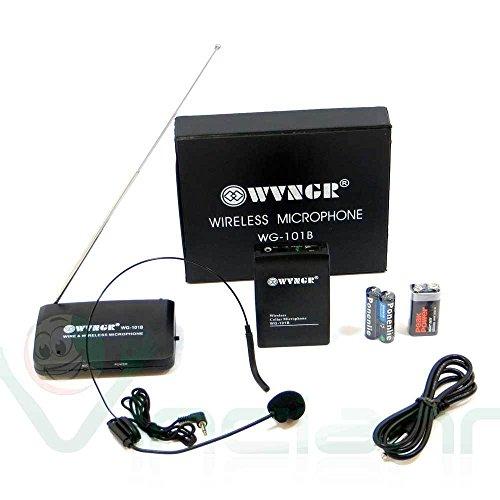 Microfono WIRELESS senza fili ricevitore trasmettitore stereo karaoke WG-101B
