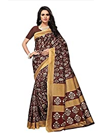 Fabwomen Sarees Kalamkari Brown And Brown Coloured Art Silk Fashion Party Wear Women's Saree/Sari With Blouse...