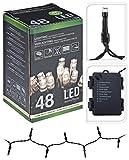 Led Lichterketten 48 Lämpchen (aussen + innen) warmweiß + Timer / Zeitschaltuhr + batteriebetrieben + 8 Funktionen