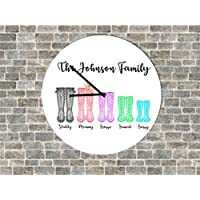 Personalised Family Wellington Boot Clock Kitchen Lounge Hallway