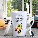 MOCER Kreative Keramik Becher minimalistischen Paar Tassen Tassen Tasse Milch Becher personalisierte Tasse mit Löffel, Löffel eine kleine Biene Edelstahl Steellid