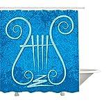 yeuss Lyra Vorhang für die Dusche von, Antike Griechische Musikinstrument Icon mit vier Saiten auf Blau Grunge Hintergrund, Stoff Badezimmer Decor Set mit Haken, Blue, Pale Blue 152,4x 182,9cm, Polyester, blau, 66