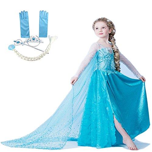 Katara - Il Vestito della Principessa Elsa, Costume da Principessa con Set di Accessori Frozen, Abito da Regina di Ghiaccio per Feste a Tema, Carnevali, Compleanni, Azzurro- per Bambine da 9-10 Anni - Abito Di Natale