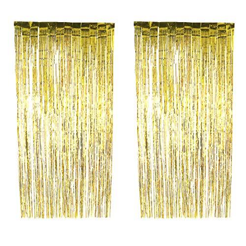 YeahiBaby 2 STÜCKE Folie Vorhänge Metallic Fringe Vorhänge Schimmer Vorhang Glitzervorhang für Geburtstag Hochzeit Weihnachten Deko (Golden)