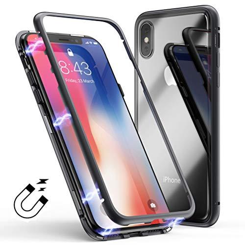 Coque Apple iPhone Xs Max Magnétique Verre Trempé Dureté 9H Back Cover, Coollee Etui Housse 360 degrés Protection Ultra Mince Anti Choc Magnetic Bumper Full Body Transparent Smartphone Case, Noir