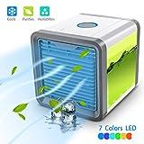Mini Luftkühler Mobile Klimageräte Air Cooler - 5 in 1 Luftbefeuchter und Luftreiniger, Tischklimaanlage Ventilator mit 5 Geschwindigkeiten, 7 Farben LED-Leuchten und LCD-Display (3 Generation + Adapter)