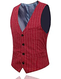 YOUTHUP Mens Pinstripe Suit Vest Waistcoat Business Wedding Formal Sleeveless Top