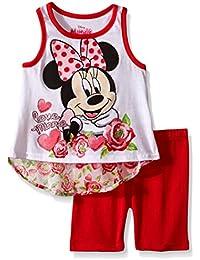 Disney Baby Girls 2 Piece Minnie Mouse Hi-Lo Chiffon Back Bike Short Set