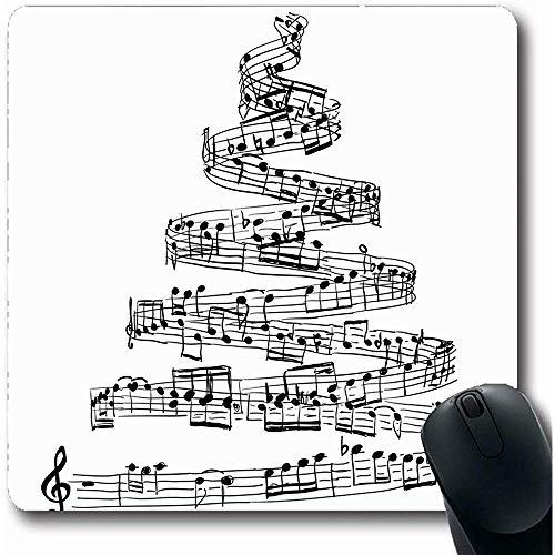 Mousepad,Shape Sheet Weihnachtsbaum Musiknoten Abstrakte Partitur Song Draw Xmas Sketch Design Handgeschriebene Rutschfeste Gaming Mouse Pad Gummimatte, 22X18Cm
