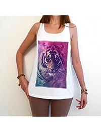 Tiger Galaxy space T-Shirt Femme photo de star,Blanc, t shirt femme,cadeau