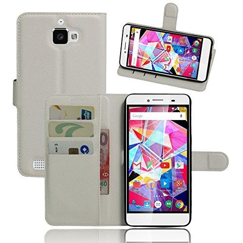 Tasche für Archos Diamond Plus Hülle, Ycloud PU Ledertasche Flip Cover Wallet Case Handyhülle mit Stand Function Credit Card Slots Bookstyle Purse Design weiß