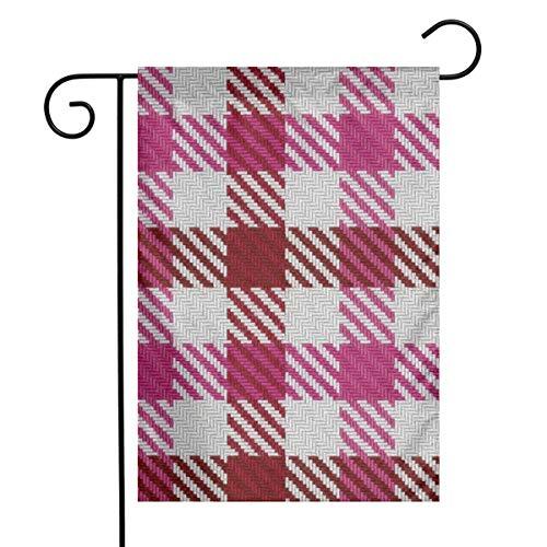 Cranberry and Hot Pink Plaid Art Garden Flag Yard Flag 12