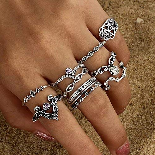 Yellow Chimes 10 PCS Combo Knuckle Rings Set Oxidized Silver Rings for Women and Girls