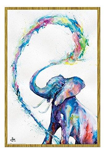 Marc Allante Elefante Poster Artistico Magnetico Bacheca Incorniciato In Rovere - 96.5 x 66 cms (Approx 38 x 26 pollici)