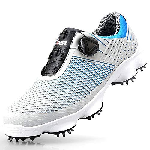SKBROGA Scarpe da golf impermeabili con chiodi - Manicotti con fibbia, Sneakers da allenamento Antiscivolo traspirante per uomo (regalo - 1 × Nail Puller & 3 × Hobnail),GrayBlue,44