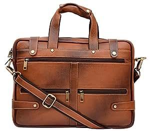 HiLEDER 100% Pure Genuine Leather Stylish 15 inches Designer Office Briefcase Laptop Shoulder Messenger Bag for Man and Women, Tan