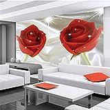 BIZHIGE Romantische Rote Rose Wandbild 3D Wand Fototapete Für Bettwäsche Zimmer TV Sofa Hintergrund 3D Wandbild Fresko, 180 × 120Cm